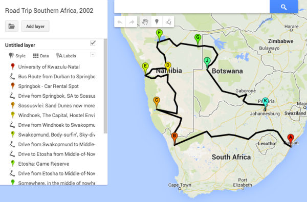 Map of our RoadTrip through Southern Africa, replete with hilarious misadventures n stuff.