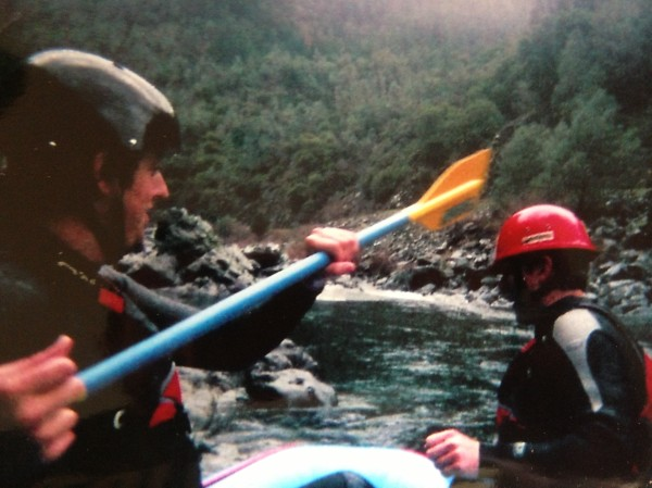 Advanced rafting technique, whereby you try to knock your friend's helmet off so that he has to jump into the freezing river to retrieve it. Safety first!