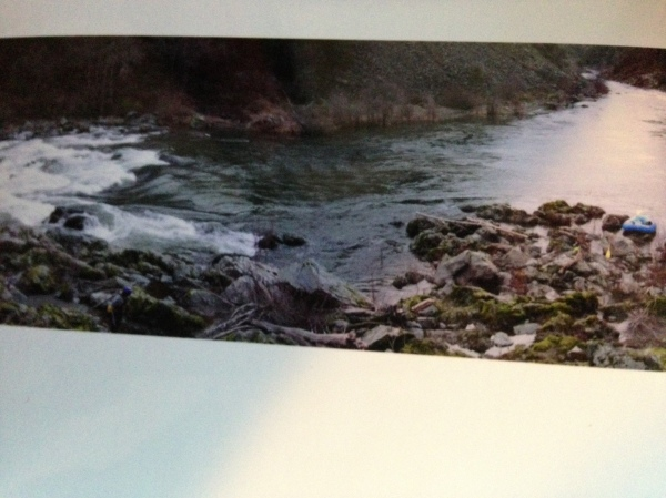 Stitched together image of a stretch of the Trinity river where we rafted in February.