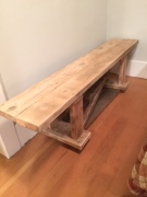 Owning a house means space to build stuff, like this bench.